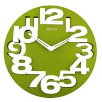 PHFU Neuheit Hohl out 3D Großen Ziffern Küche Home Office Decor Runde Förmigen Wanduhr Kunst Uhr (Grün)|Wanduhren|Heim und Garten -