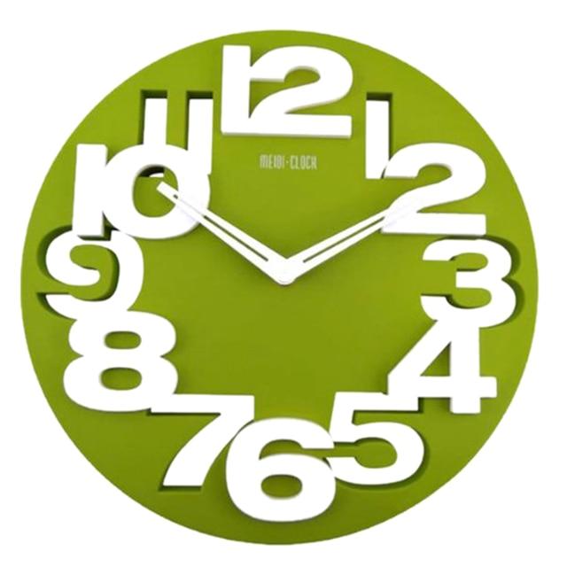 PHFU Novelty Hollow-out 3D Big Digits Kitchen Home Office Decor Round Shaped Wall Clock Art Clock (Green)