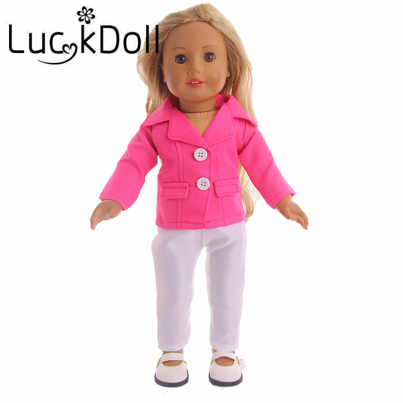 Luckdoll Swallow Collar Long sleeve Coat + Pants for 18 inch American Girl Doll or 43 cm Baby Born Doll Accessories for Dolls american girl doll clothes 4 styles elsa blue lace princess dress doll clothes for 16 18 inch dolls baby doll accessories x 2