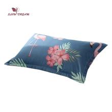 SlowDream Pillowcase Nordic Blue Flamingos Cartoon Bedding Home Textiles Pillow Cover Single Double  48X74CM Size