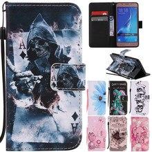 Luxury Cute Cartoon Flower Skull Cat Bee Elephant Leather Flip Fundas Case For Samsung Galaxy J1 J3 J5 2016 J120 J310 J510 Cover