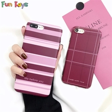 Fun Kays Stripe Pastel Purple Grid Lattice Me Before You Made Woth Love Elegant Soft Slim Matte Back Cover Pink Phonecase 6 7 8(China)
