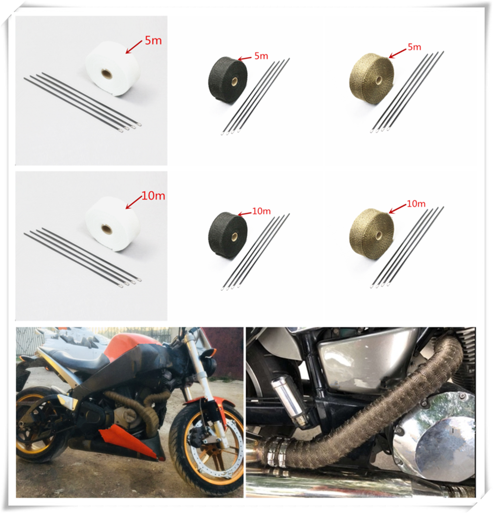 Motorcycle roll fire insulation cloth hot air <font><b>exhaust</b></font> heat protection cover belt for Kawasaki ZZR600 Z900 <font><b>Z650</b></font> VERSYS 1000 image