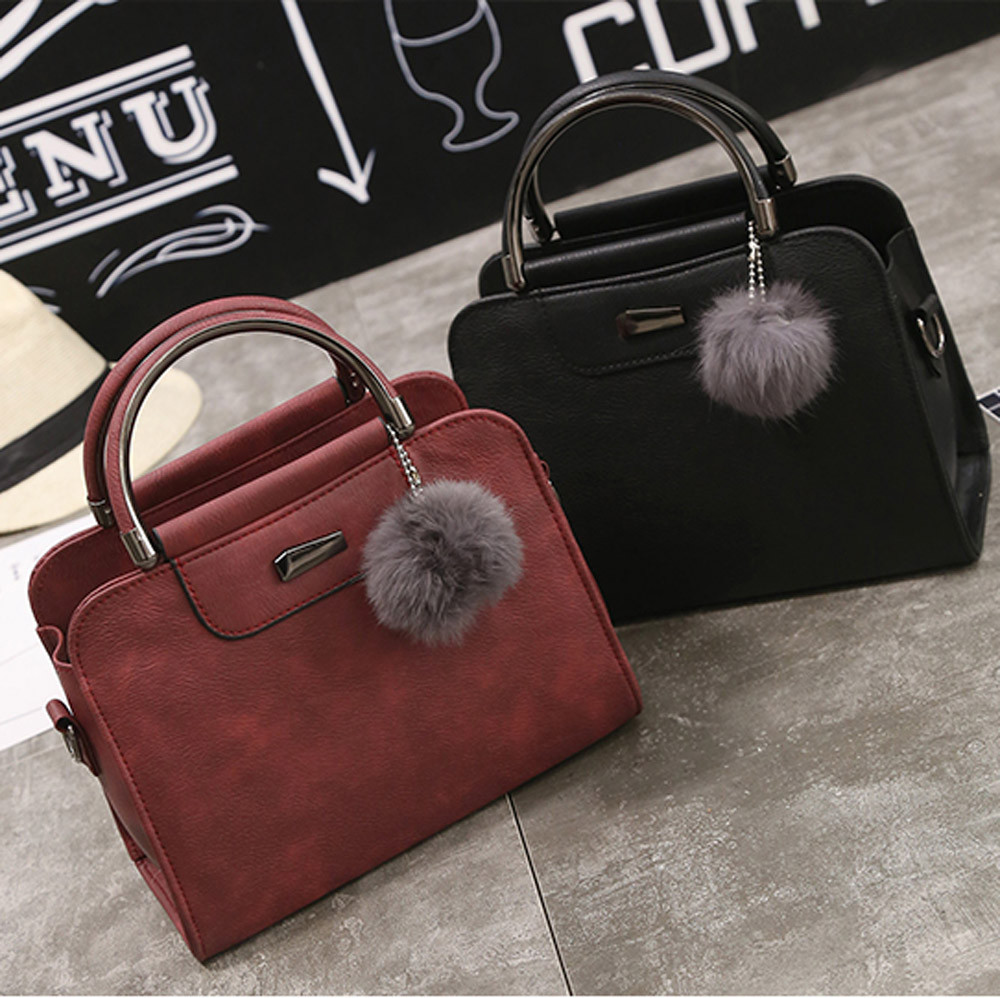 Vintage Nubuck Leather Women Bags Female Top-handle Shoulder Bags Fur Ball Pendant Handbag Cross Body Messenger Bag