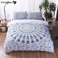 Hongbo 3 Pcs/Set Bohemian Bedding Sets Mandala Printing Boho Queen King Size Duvet Cover Set (no filling,no sheet)