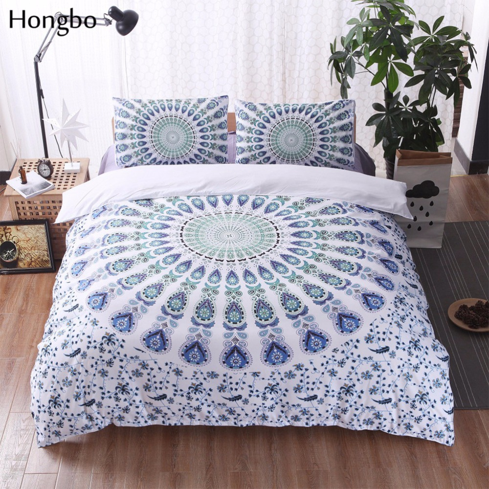 Hongbo 3 Pcs/Set Bohemian Bedding Sets Mandala Printing Boho Queen King Size Duvet Cover Set (no filling,no sheet)