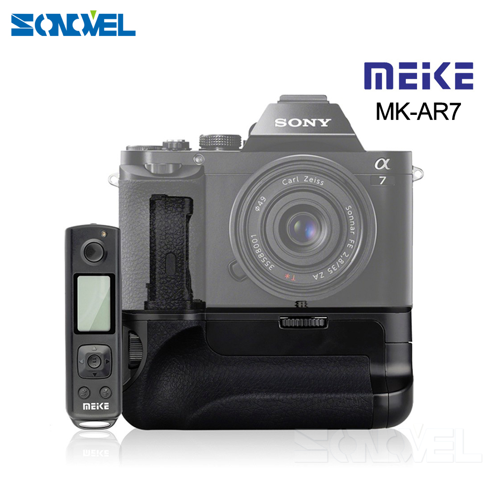 Meike MK-AR7 2.4G Wireless Remote System Vertical Battery Grip hand pack for Sony A7/A7R/A7S NP-FW50 as VG-C1EM meike wireless control battery grip for sony a7 a7r a7s as vg c1em 2 np fw50 battery battery charger