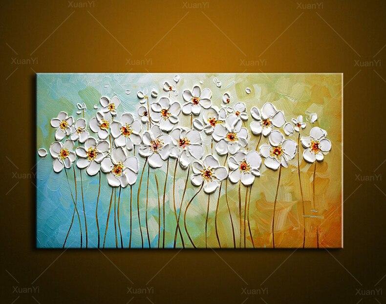 Moderne Fleur Abstraite Couteau Peint À La Main Toile Art Mur Peinture Fleur  Image Home Decor Pour Mauvaise Chambre Sans Cadre PR1049 dans Peinture et