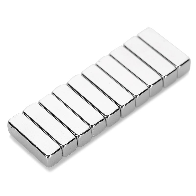 (10PCS /set) N35 Rectangle Shaped 10*2*2mm NdFeB Magnets Fun Magnet - Silver ND-FE-B Permanent strong magnetic small magnet she