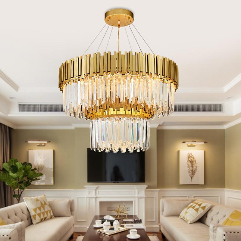 modern Suspension Hanging Crystal LED Ceiling Lamp Corridor Indoor Lighting Stainless steel gold crystal Ceiling lights