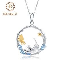 GEMS BALLETT Natürliche Swiss Blue Topas Feine Schmuck 925 Sterling Silber Handmade Schmetterling Blume Knospe Anhänger Halskette für Frauen