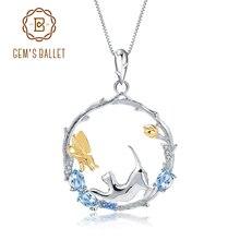 Gems ballet natural suíço azul topázio jóias finas 925 prata esterlina artesanal borboleta flor bud pingente colar para mulher
