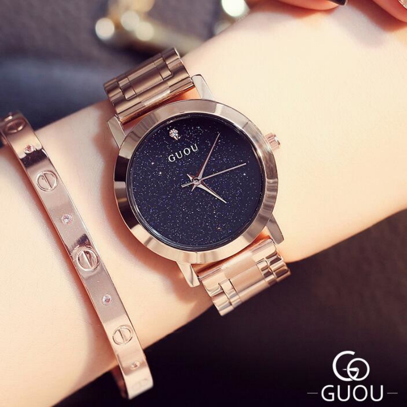 GUOU Brand Shiny Diamond Watch Fashion Rose Gold Watch Women Watches Stainless Steel Women's Watches Clock saat montre femme fiskars 111440