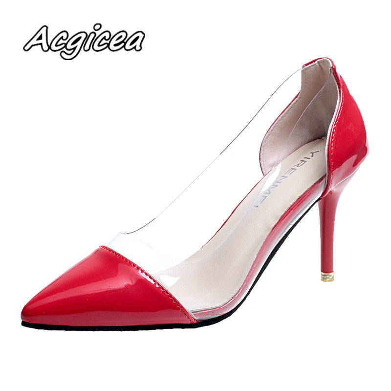 Women Fashion Pumps 2019 Summer new  Transparent High Heels Sexy Pointed Toe Slip-on  Party Shoes For Lady f125-1Women Fashion Pumps 2019 Summer new  Transparent High Heels Sexy Pointed Toe Slip-on  Party Shoes For Lady f125-1