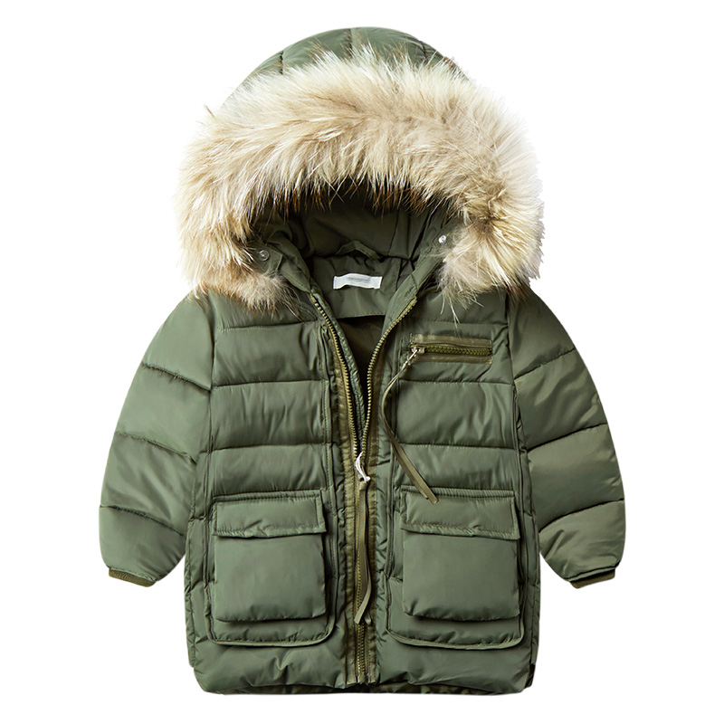 New Fashion Warm Children Winter Clothes Jacket Children Clothing Windbreaker Jackets Casual Hooded Boys Thick Warm Coat 2-7T купить