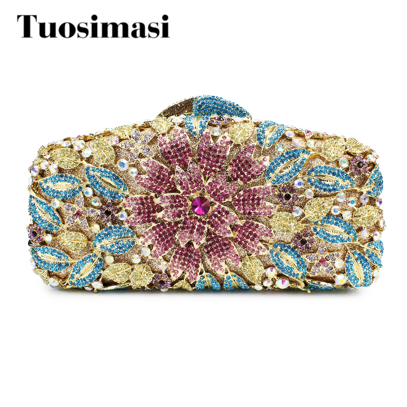 Gift Box Ladies Evening Party Flower Clutch Bag Rhinestone Wedding Party Clutches Evening Bag (8601A-P) party box black