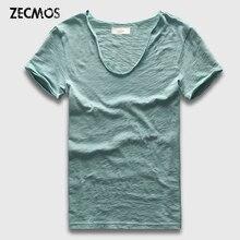 Zecmos брендовая мужская футболка простая хип-хоп модная повседневная XXXL Футболка с v-образным вырезом Swag для мужчин с коротким рукавом мужские футболки