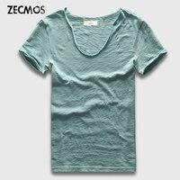 Zecmos 20 Solid Colors V Neck Men T Shirt Swag T Shirt Men Short Sleeve Top