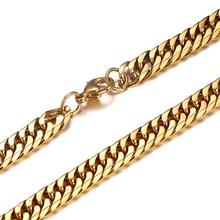 Granny Chic Mens Womens Chain 7.5mm Heavy Gold 316L Stainless Steel Double Curb Link Boys Necklace Wholesale Gift