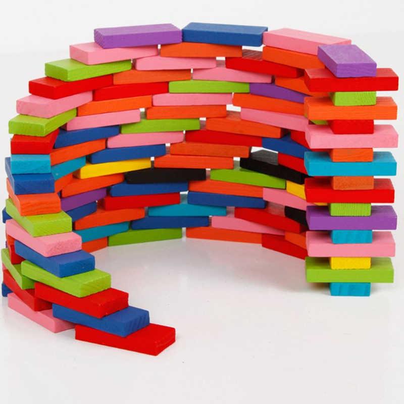 QWZ 120 шт./компл. детские цветные разборная Радуга Деревянные домино блоки наборы ранние яркие домино обучающие игры игрушки для детей подарок