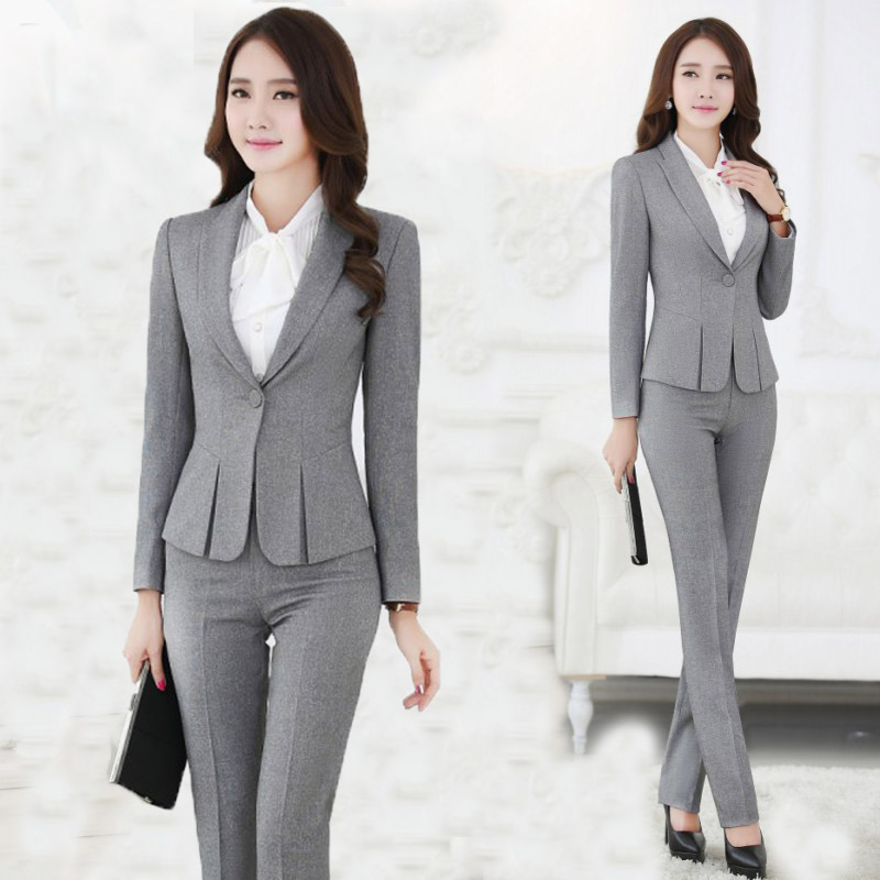 2015 New Winter style Women Trousers And Blazer Pants Suit