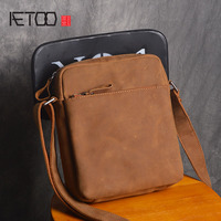 AETOO The First Layer Of Leather Shoulder Bag Men Retro Leisure Messenger Package Small Square Bag