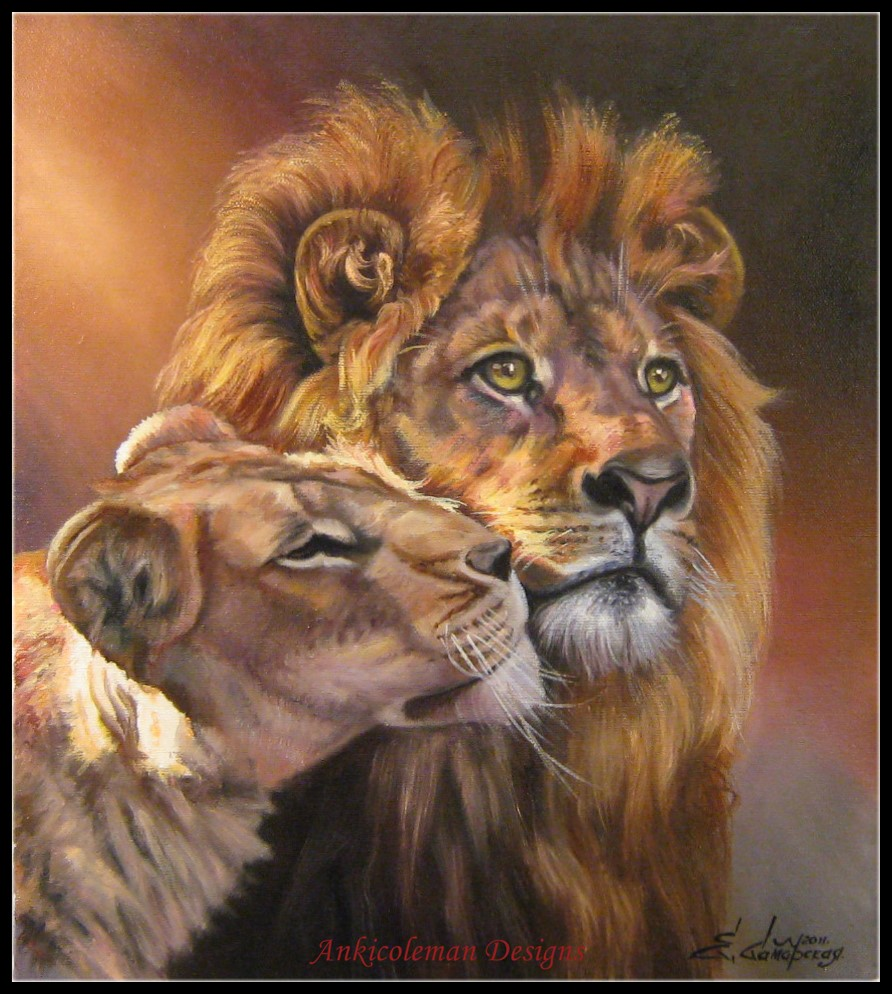 Embroidery Counted Cross Stitch Kits Needlework - Crafts 14 Ct DMC Color DIY Arts Handmade Decor - Lions Loving Couple