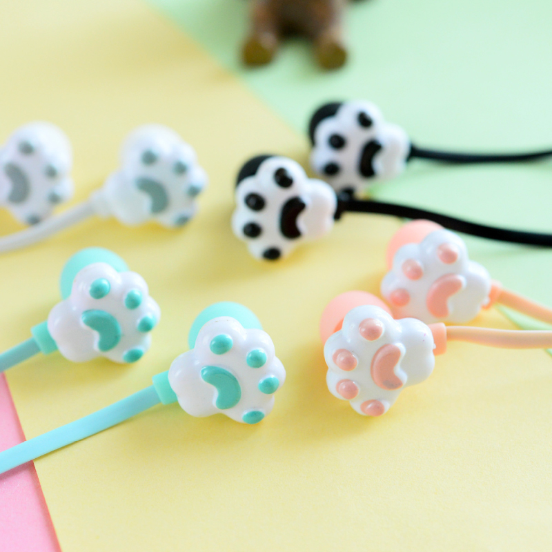 Chiclits Earphone New Cute Lovely Cartoon Cat Paw 3.5mm in-ear Headset With Microphone Pack Boxes for iPhone Samsung Android