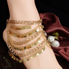 AK042 Fashion Golden Multilayer Fringed Sequins Anklets Women Foot Chain Charm Accessories Wedding Party Jewelry Gift