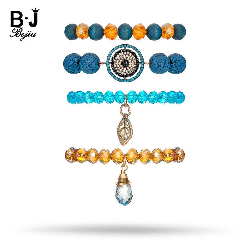 BOJIU Charm Blue Lava Stone Bracelets Women Brown Lake Blue Crystal Bracelet Sets For Women Simple Bracelets For Girls BCSET78