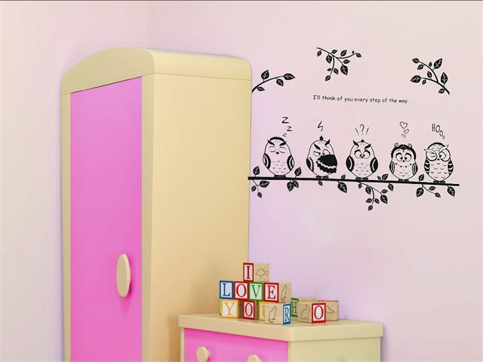 Cute family owls on the branch Cartoon wall decoration for kids room ...