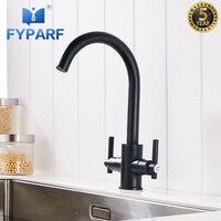 FYPARF современный черный матовый кухонный кран на бортике с двойной ручкой 360 смеситель для воды Смеситель для холодной и горячей кухни смеси