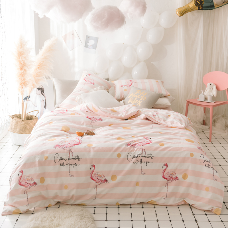 100%Cotton Flamingo Duvet Cover Set Princess Bedding Set Pink Flamingo stripe Bed Sheets Bedset Linen bedclothes Home textile