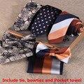 Gravata de Negócios Terno Inglaterra Laços Dos Homens Laços para Homens Jacquard Três-piece Coreano Bow Tie Bolso Praça Lenço Gravata