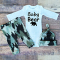 Little Baby Bear Baby Rompers Outfit Clothing Set Newborn Baby Body Suits Kumpsuit Clothes Baby Harem Panst Beanies Hat 3pcs