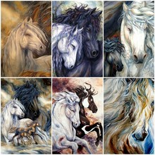 Huacan Diamond Embroidery Horse Paintings From Crystals Diamond Painting Full Square Animal Rhinestones Mosaic Home Decoration