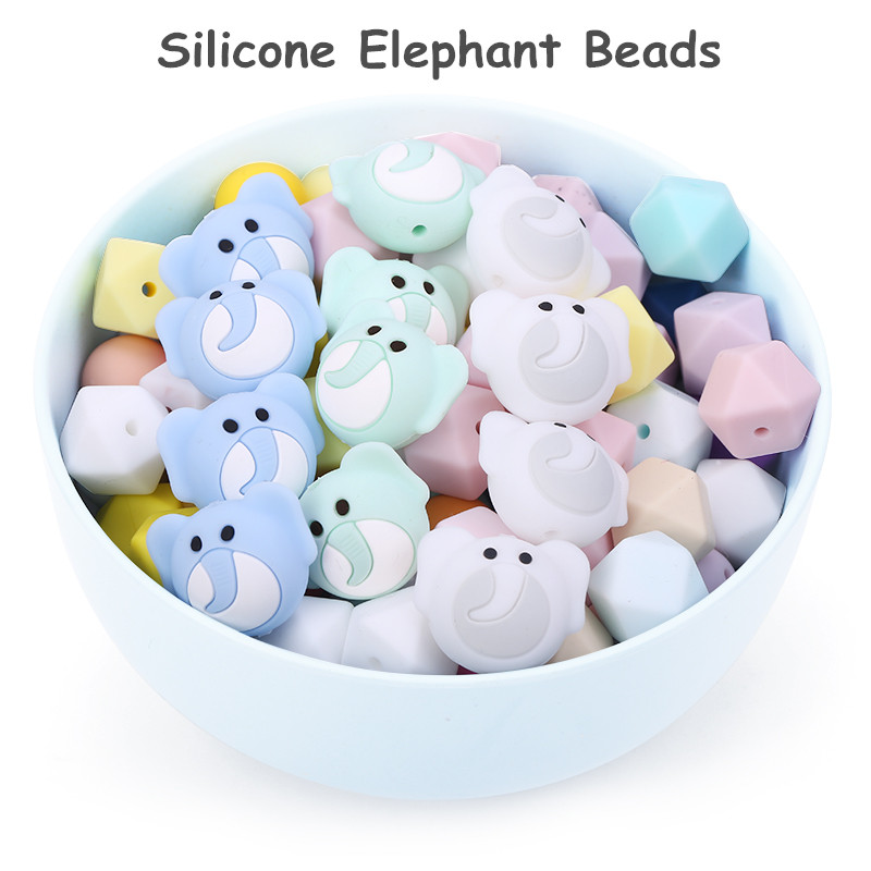 Chenkai 10PCS Silicone Elephant Teether Beads DIY Baby Shower Animal Cartoon Chewing Pacifier Dummy Sensory Toy Accessories