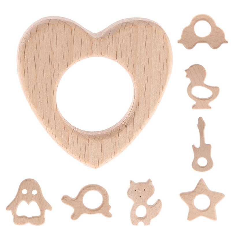 2017 New Handmade Natural Wooden Animal Shape Baby Kids Teether Teething Toy Shower Gift