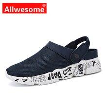 Allwesome Croc Shoes Men Summer Massage Clogs Outdoor Beach Sandals Slippers Flip Flops Comfotrtable Aqua Big Size39-46