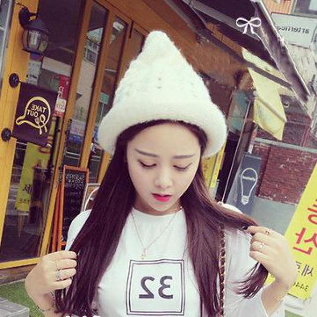 faf9f5c9847 YOCCAS The Fall Of New Ice Cream Wool Knitted Hat Cute Single Spire Female  Korean Winter Tide Hats Women