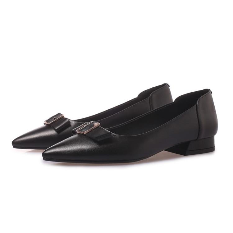 Black Mljuese Cuir Appartements khaki Chaussures Femmes Bout Pointu Doux 2019 Confortable En Casual Parti Robe Printemps Vache Automne MjpqVLGSUz