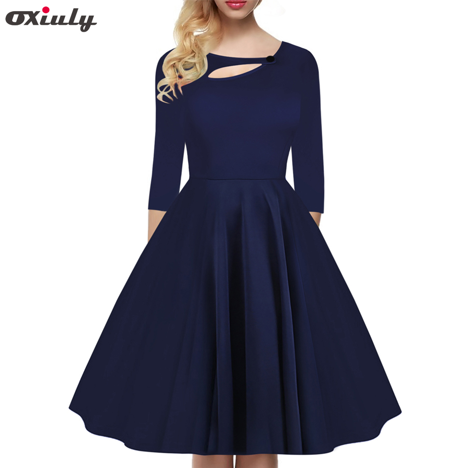 3d72b72624b Detail Feedback Questions about Oxiuly Womens Elegant Vintage Autumn  Asymmetric Neck Tunic Pinup Wear To Work Office Casual Party Plain A Line  Skater Dress ...