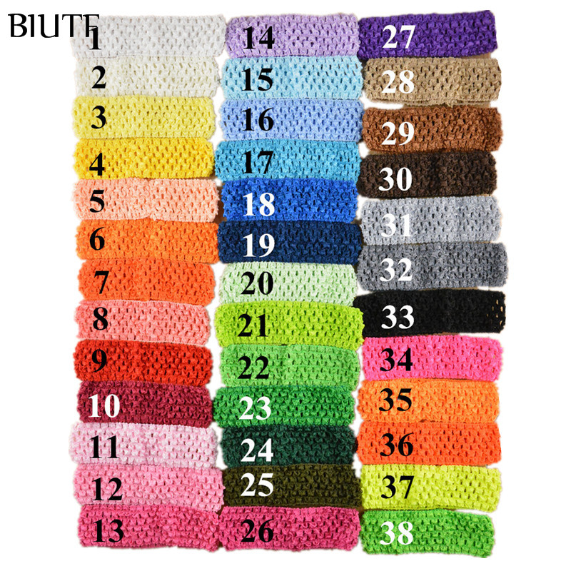 50pcs/lot 1.5 Inch Elastic Crochet Girl Top Tutu Hairband Knitted Pettiskirt Headband 38 Color in Stock FD099 15pcs lot stretch elastic tutu headbands diy headband hair accessories 1 5 inch crochet headband free shipping 33colors in stock