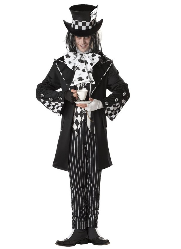Alice in Wonderland Mad Hatter Costume Halloween Adult Man Fantasia Party Cospaly Fancy Dress