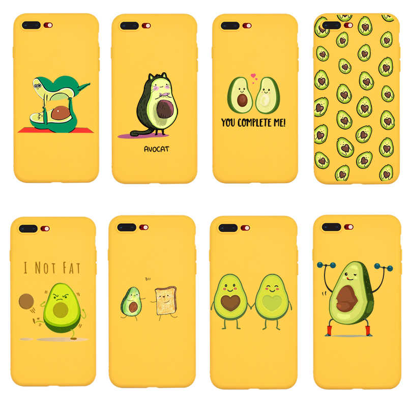 Cartoon Cute Avocados Phone Case For iPhone XR 7 8 Plus 6 6S Plus X XS MAX 5 Plus Soft Silicone Phone Cover For iPhone 8 7 Plus