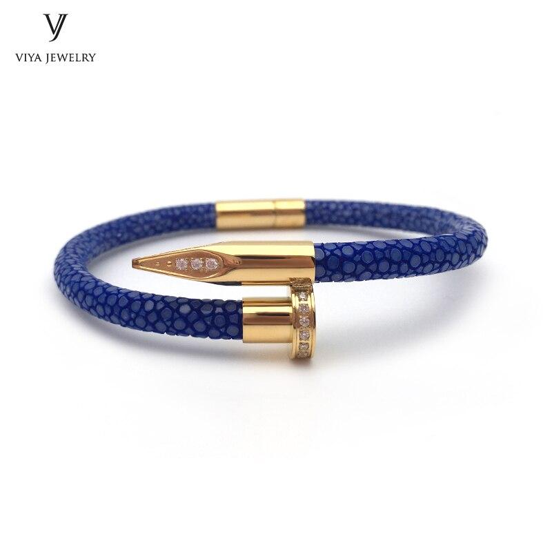 Последний гвоздь браслет с циркон Подлинная синий кожа ската ногтей Браслеты настроить мода ногтей браслет с подарочной коробке