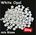 Mix Sizes White Opal 3D Nail Rhinestones Flatback Glass Strass Non HotFix Rhinestone For DIY Nails H0234