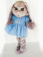 Hare Puppet Mascot Costumes grils Bunny mascot costume with dresses for Adult Size Christmas Carnival party event