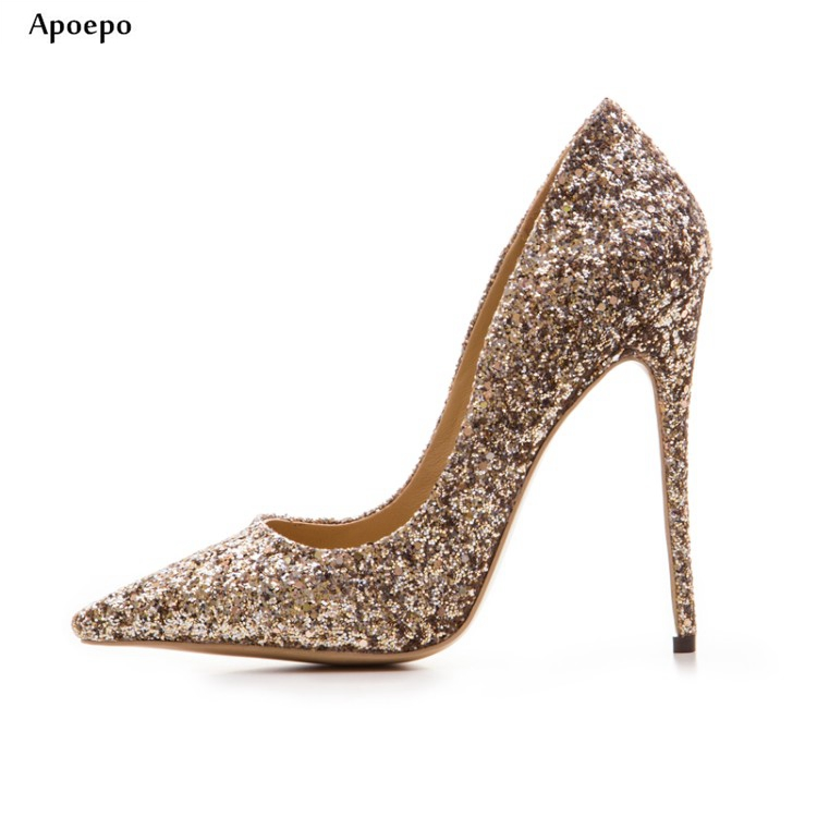 Apoepo Bling Bling Glitter Embellished High heel Shoes 2018 Sexy pointed toe wedding shoes for woman slip-on thin heels pumps apoepo 2018 newest woman stilettos pumps sexy pointed toe slip on dress heels office lady thin heels shoes bling party shoes