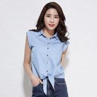 2018 Kore Denim Gömlek Kadın Yaz Kolsuz Pamuk Bluzlar Turn-aşağı Yaka Yay Kısa Paragraf Ince Bayanlar Için Tops Blusa